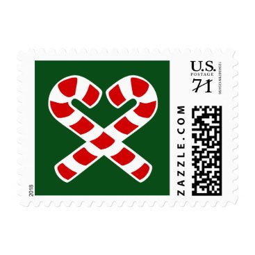 Valentines Themed Christmas party stamps with candy canes heart