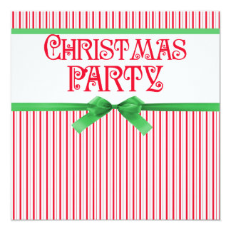 Christmas Party Striped Classy Square Ribbon Look Card