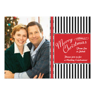 Christmas Party Stripes Photo Template Invitation