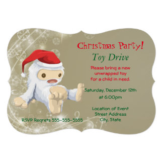 Christmas Party Toy Drive with Snow Monster Toy Card