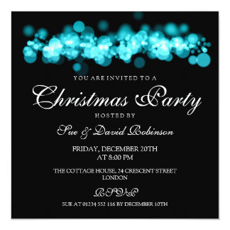 Christmas Party Turquoise Bokeh Lights Card