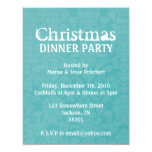 """Christmas Party Turquoise Vintage Invites 4.25"""" X 5.5"""" Invitation Card"""