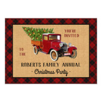 Christmas Party Vintage Red Truck Tree Plaid Check Invitation