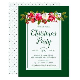 Christmas Party | Watercolor Floral Polka Dots Card