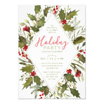 Christmas Party Watercolor Vintage Holly Greenery Invitation