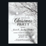 """CHRISTMAS PARTY Winter Wonderland Snow Snowflakes Invitation<br><div class=""""desc"""">Personalized Modern Winter Wonderland Christmas Party invitations in black and white colors. Background in twinkle lights and snow, snowflakes and tree branch. Editable template - simply add your text. All text can be changed font, color and size. Perfect for home party, office party, holiday dinner party bash or any other...</div>"""