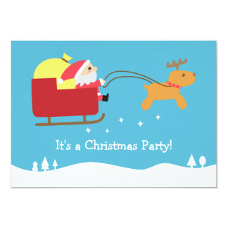 Christmas Party with Cute Santa and Reindeer Card