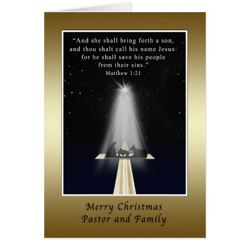 Christmas, Pastor and Family,  Religious Greeting Card