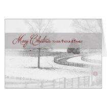 Christmas-Pastor/Family - Horse Ranch-Winter/Snow Card