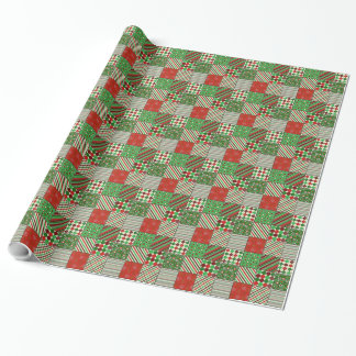 Christmas Patchwork Quilt Gift Wrap Paper