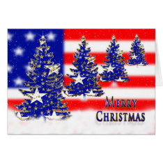 CHRISTMAS - PATRIOTIC - FLAG AND TREES CARD at Zazzle