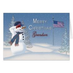 Christmas - Patriotic - Grandson -Snowman/Saluting Card at Zazzle