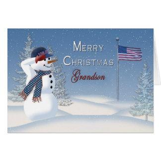 Christmas - Patriotic - Grandson -Snowman/Saluting Card