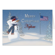Christmas - Patriotic - Nephew -snowman/saluting Card at Zazzle