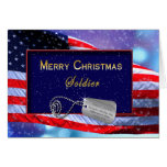 CHRISTMAS - PATRIOTIC - SOLDIER - FLAG/SNOWING CARD