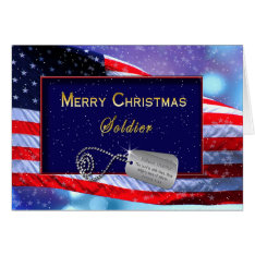 CHRISTMAS - PATRIOTIC - SOLDIER - FLAG/SNOWING CARD at Zazzle