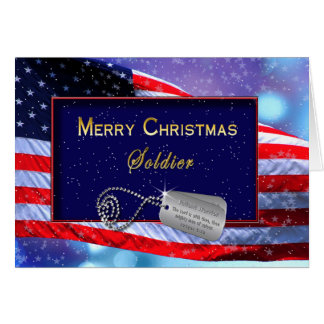 for soldier patriotic christmas card with snowman over american flag