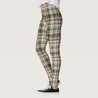 Christmas pattern cranberry and loden tartan plaid leggings