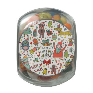 Christmas Pattern. Cute Cartoon Glass Candy Jars