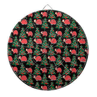 Christmas pattern dartboard with darts