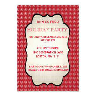 Christmas Pattern Holiday Snowflake Party Card