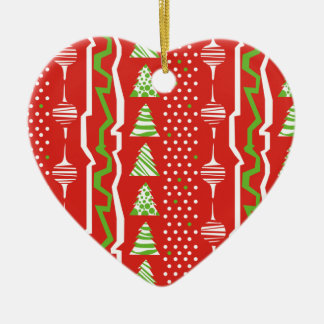 Christmas Pattern in red, white and green Ceramic Ornament