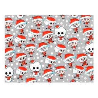 Christmas Pattern Santa and Snowman on Gray Postcard