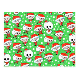 Christmas Pattern Santa and Snowman on Green. Postcard