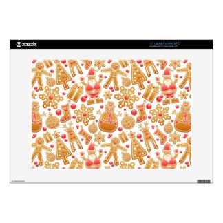 "Christmas Pattern-Santa Claus Tree Rudolph Snowman 15"" Laptop Decal"