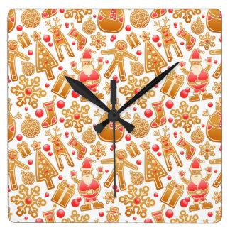 Christmas Pattern-Santa Claus Tree Rudolph Snowman Square Wall Clock