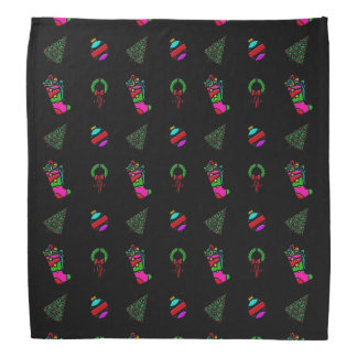 Christmas Pattern Stocking, Tree, Wreath on Black Bandana