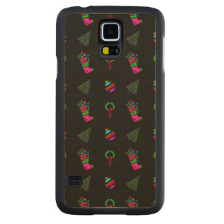 Christmas Pattern Stocking, Tree, Wreath on Black Carved® Maple Galaxy S5 Slim Case