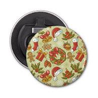 Christmas Pattern Vintage Style Button Bottle Opener