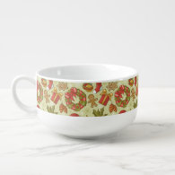 Christmas Pattern Vintage Style Soup Bowl With Handle