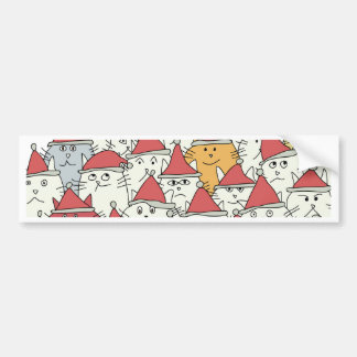 Christmas pattern with a lot of funny cats bumper sticker