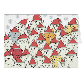 Christmas pattern with a lot of funny cats card