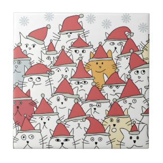 Christmas pattern with a lot of funny cats ceramic tile