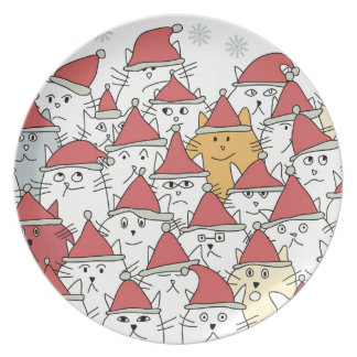 Christmas pattern with a lot of funny cats dinner plate