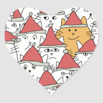 Christmas pattern with a lot of funny cats heart sticker