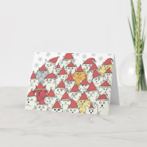 Christmas pattern with a lot of funny cats holiday card