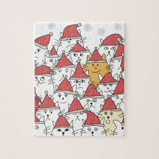 Christmas pattern with a lot of funny cats jigsaw puzzle