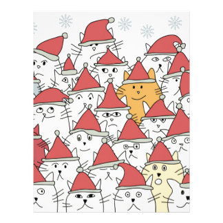 Christmas pattern with a lot of funny cats letterhead