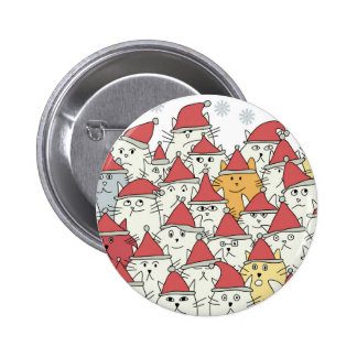 Christmas pattern with a lot of funny cats pinback button