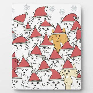 Christmas pattern with a lot of funny cats plaque