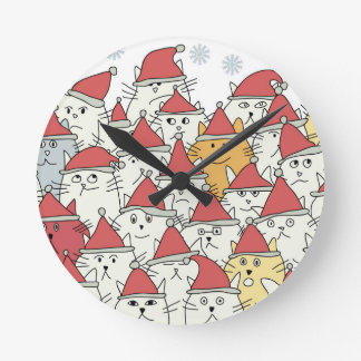 Christmas pattern with a lot of funny cats round clock
