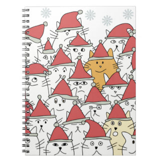 Christmas pattern with a lot of funny cats spiral notebook