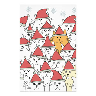 Christmas pattern with a lot of funny cats stationery