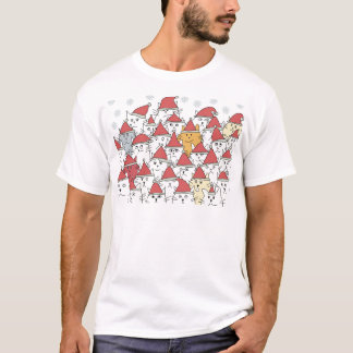 Christmas pattern with a lot of funny cats T-Shirt