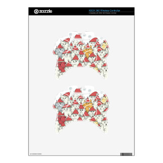 Christmas pattern with a lot of funny cats xbox 360 controller skins