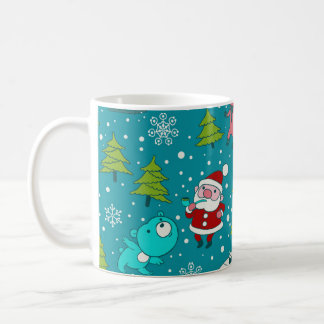 Christmas pattern with funny little animals. coffee mug